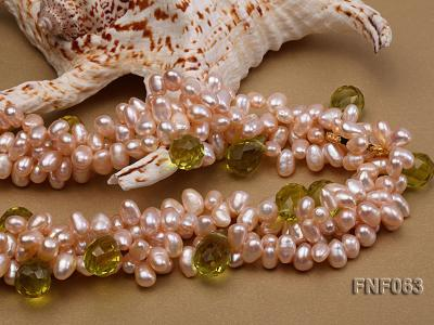 Two-strand 6x8mm Cultured Freshwater Pearl Necklace with Crystal Beads FNF063 Image 4