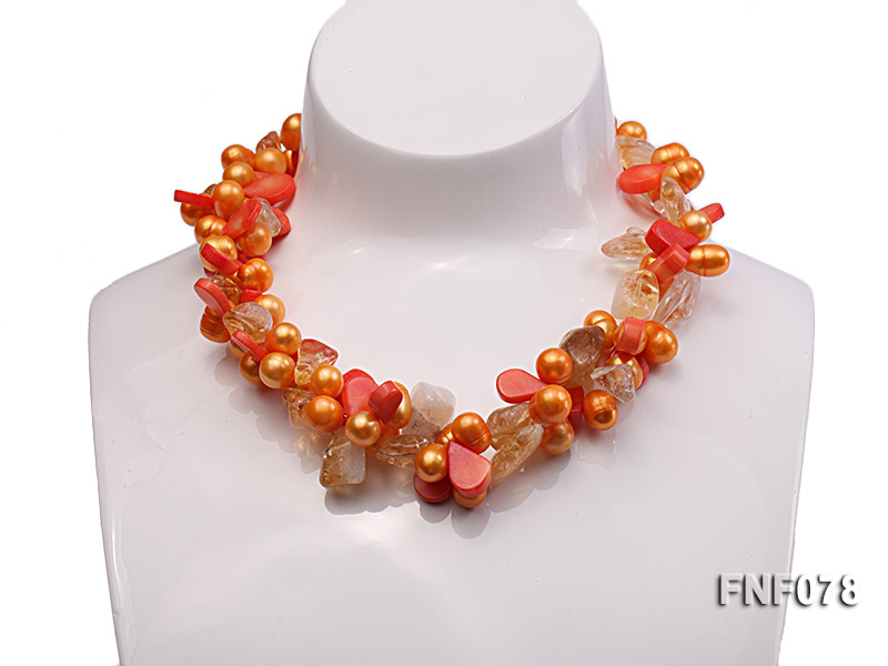 Two-strand 8x9mm Orange Freshwater Pearl, Yellow Crystal Chips and Pink Coral Beads Necklace big Image 1