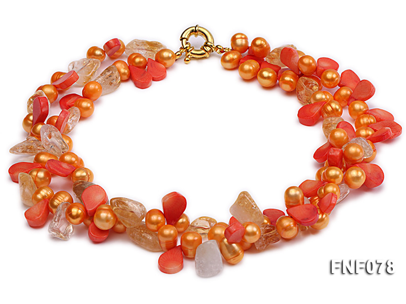 Two-strand 8x9mm Orange Freshwater Pearl, Yellow Crystal Chips and Pink Coral Beads Necklace big Image 2