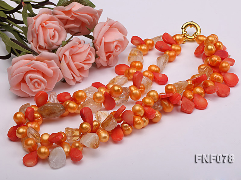 Two-strand 8x9mm Orange Freshwater Pearl, Yellow Crystal Chips and Pink Coral Beads Necklace big Image 5