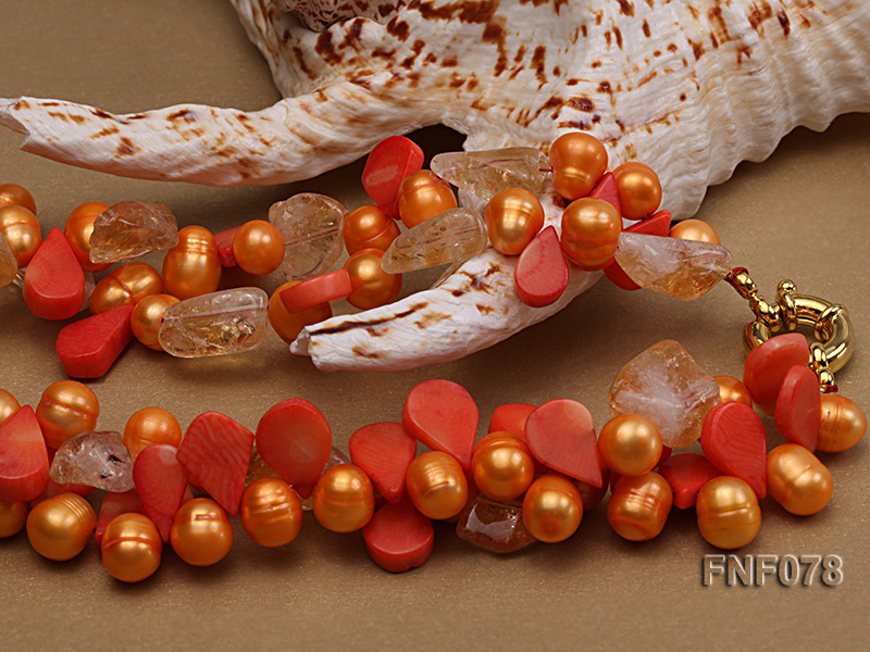 Two-strand 8x9mm Orange Freshwater Pearl, Yellow Crystal Chips and Pink Coral Beads Necklace big Image 6