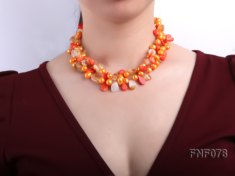 Two-strand 8x9mm Orange Freshwater Pearl, Yellow Crystal Chips and Pink Coral Beads Necklace big Image 3