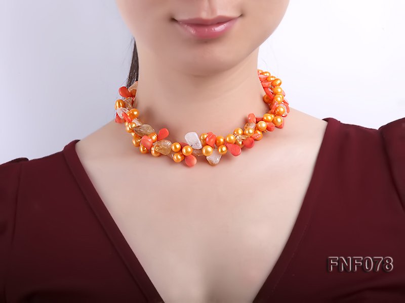 Two-strand 8x9mm Orange Freshwater Pearl, Yellow Crystal Chips and Pink Coral Beads Necklace big Image 4
