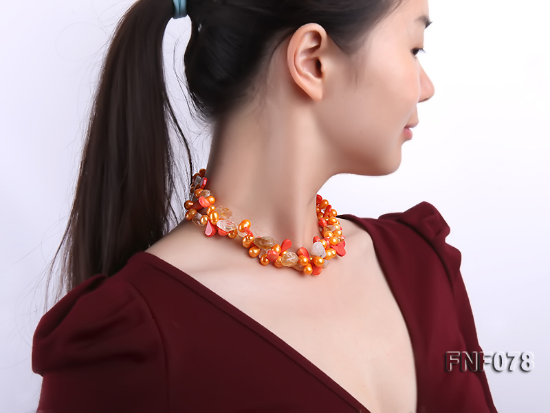 Two-strand 8x9mm Orange Freshwater Pearl, Yellow Crystal Chips and Pink Coral Beads Necklace big Image 8