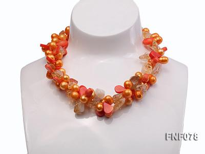 Two-strand 8x9mm Orange Freshwater Pearl, Yellow Crystal Chips and Pink Coral Beads Necklace FNF078 Image 1