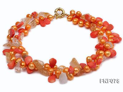 Two-strand 8x9mm Orange Freshwater Pearl, Yellow Crystal Chips and Pink Coral Beads Necklace FNF078 Image 2