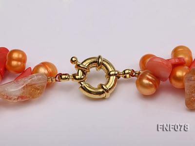 Two-strand 8x9mm Orange Freshwater Pearl, Yellow Crystal Chips and Pink Coral Beads Necklace FNF078 Image 7