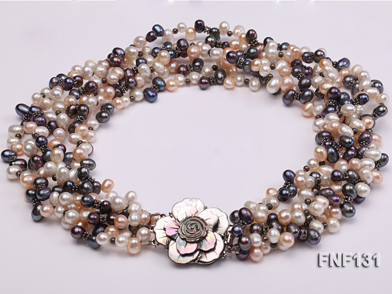 Six-strand 5-6mm White, Pink and Dark-purple Freshwater Pearl Necklace big Image 3