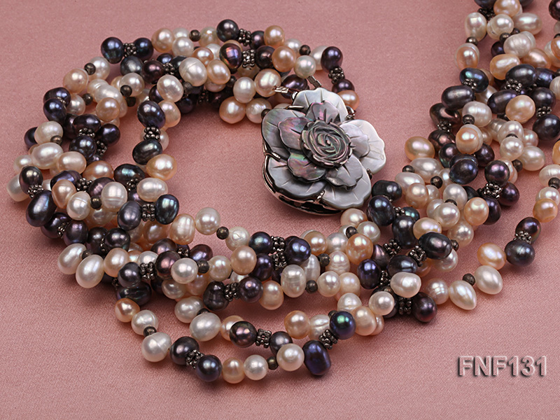 Six-strand 5-6mm White, Pink and Dark-purple Freshwater Pearl Necklace big Image 4