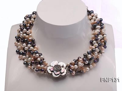 Six-strand 5-6mm White, Pink and Dark-purple Freshwater Pearl Necklace FNF131 Image 1