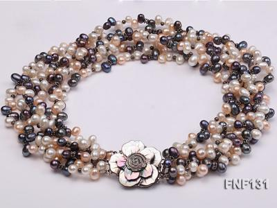 Six-strand 5-6mm White, Pink and Dark-purple Freshwater Pearl Necklace FNF131 Image 3