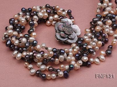 Six-strand 5-6mm White, Pink and Dark-purple Freshwater Pearl Necklace FNF131 Image 4