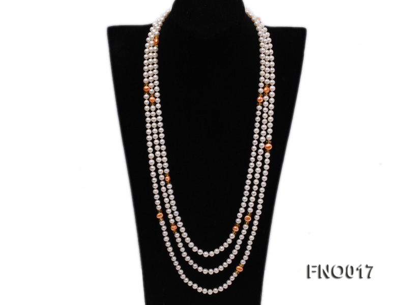 6-7mm white round freshwater pearls alternated with 7-8mm orange pearls necklace big Image 1