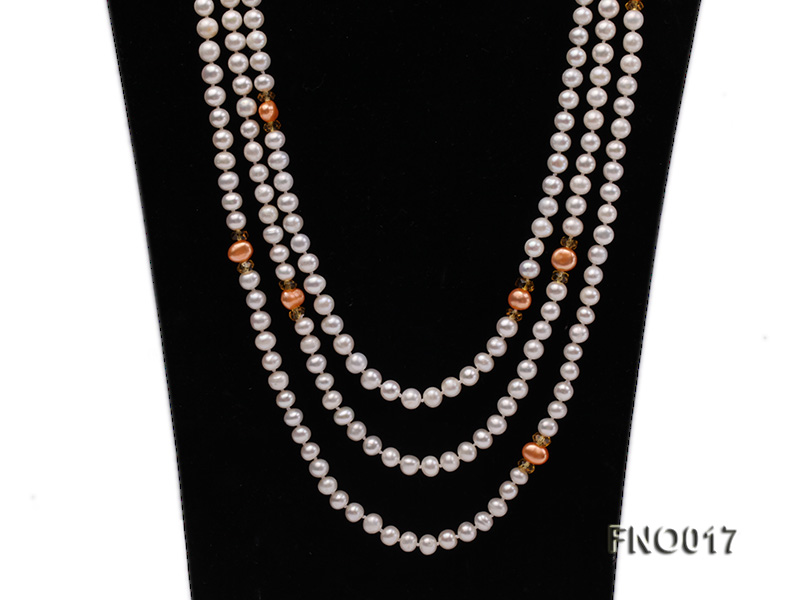 6-7mm white round freshwater pearls alternated with 7-8mm orange pearls necklace big Image 2