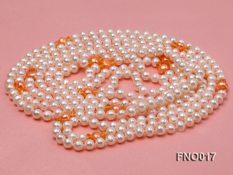 6-7mm white round freshwater pearls alternated with 7-8mm orange pearls necklace big Image 3