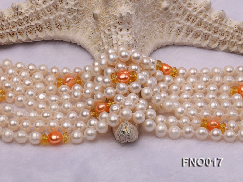 6-7mm white round freshwater pearls alternated with 7-8mm orange pearls necklace big Image 4