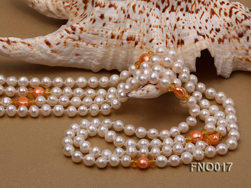 6-7mm white round freshwater pearls alternated with 7-8mm orange pearls necklace big Image 5