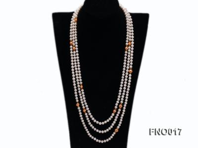 6-7mm white round freshwater pearls alternated with 7-8mm orange pearls necklace FNO017 Image 1
