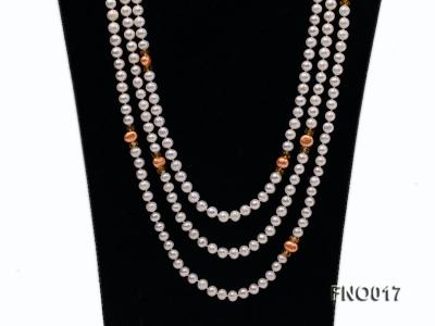 6-7mm white round freshwater pearls alternated with 7-8mm orange pearls necklace FNO017 Image 2