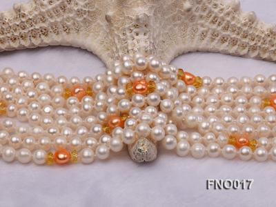 6-7mm white round freshwater pearls alternated with 7-8mm orange pearls necklace FNO017 Image 4