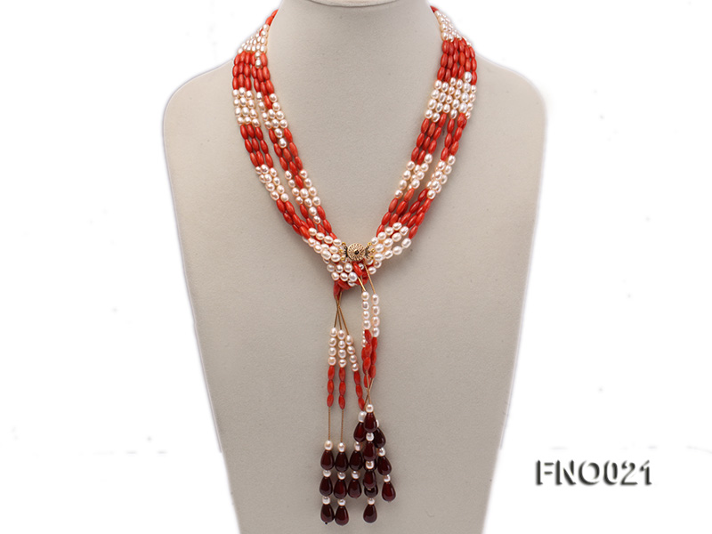 4x9mm white oval freshwater pearl and red corals and red agate and yellow gilded smooth liquid neckl big Image 1
