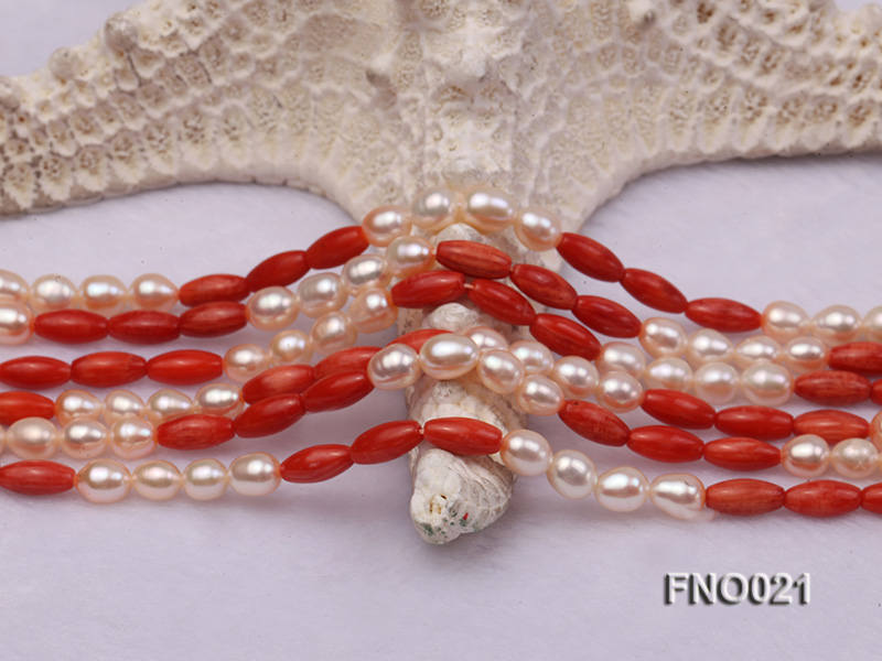 4x9mm white oval freshwater pearl and red corals and red agate and yellow gilded smooth liquid neckl big Image 3