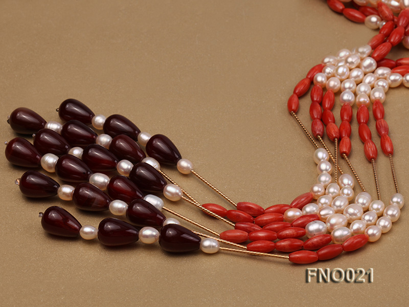 4x9mm white oval freshwater pearl and red corals and red agate and yellow gilded smooth liquid neckl big Image 4