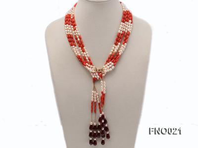 4x9mm white oval freshwater pearl and red corals and red agate and yellow gilded smooth liquid neckl FNO021 Image 1