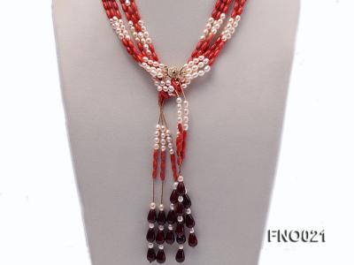 4x9mm white oval freshwater pearl and red corals and red agate and yellow gilded smooth liquid neckl FNO021 Image 2