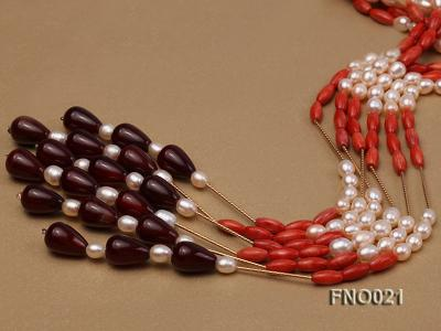 4x9mm white oval freshwater pearl and red corals and red agate and yellow gilded smooth liquid neckl FNO021 Image 4