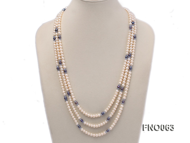 6-7mm white round freshwater pearls alternated with blue pearl and faceted crystal necklace big Image 1