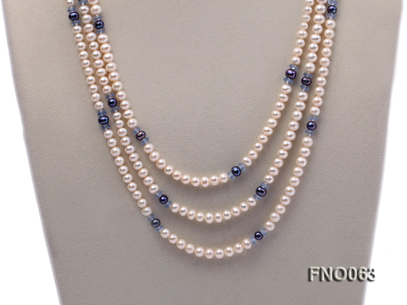 6-7mm white round freshwater pearls alternated with blue pearl and faceted crystal necklace big Image 2