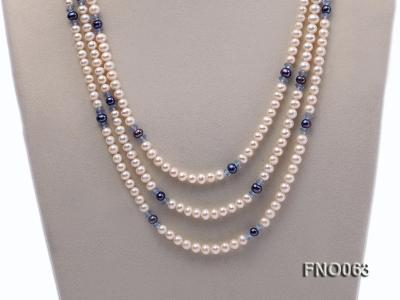 6-7mm white round freshwater pearls alternated with blue pearl and faceted crystal necklace FNO063 Image 2