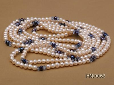 6-7mm white round freshwater pearls alternated with blue pearl and faceted crystal necklace FNO063 Image 3