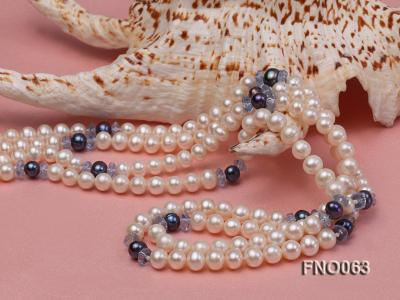 6-7mm white round freshwater pearls alternated with blue pearl and faceted crystal necklace FNO063 Image 4