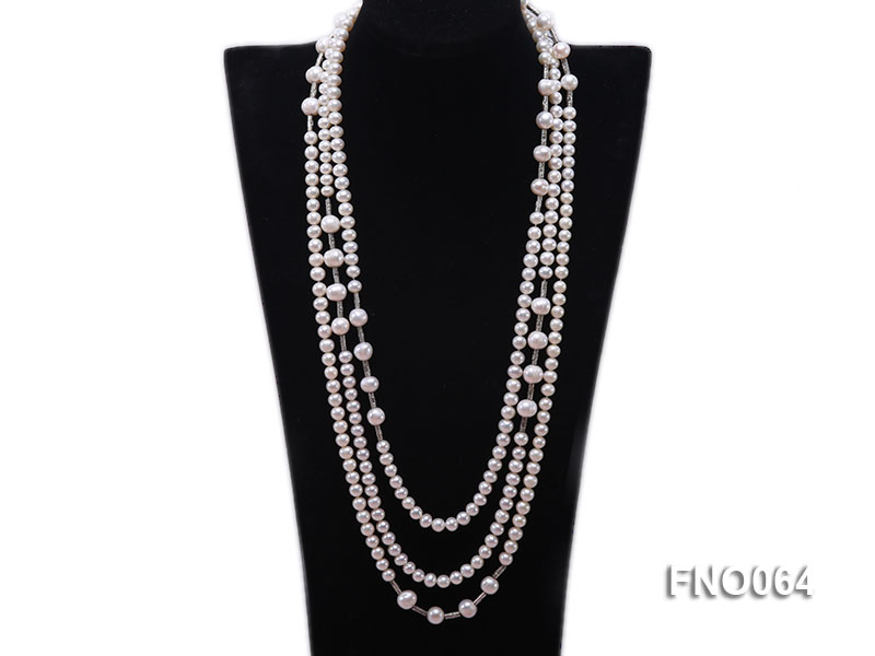 7-7.5mm white round pearls alternated 10-10.5mm white pearls and white gilded tube necklace big Image 1