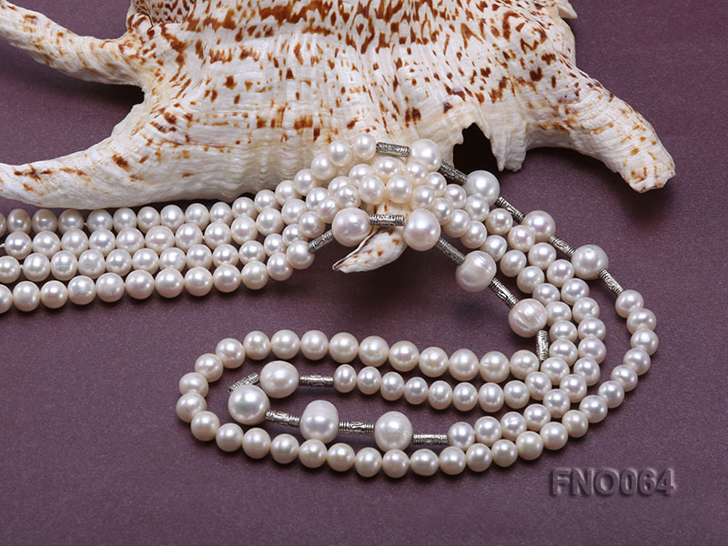 7-7.5mm white round pearls alternated 10-10.5mm white pearls and white gilded tube necklace big Image 5
