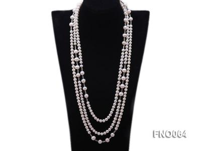 7-7.5mm white round pearls alternated 10-10.5mm white pearls and white gilded tube necklace FNO064 Image 1