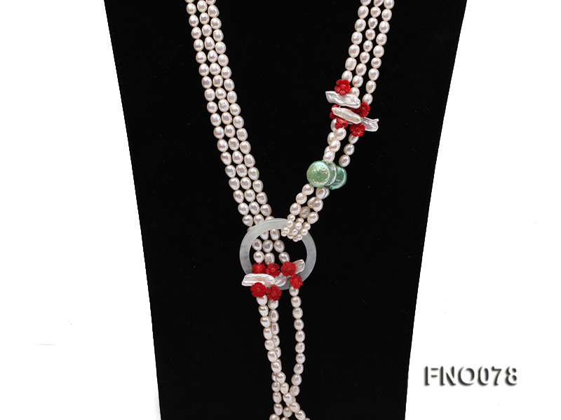 5.5-6.5mm white elliptical pearls alternated with red coral white biwa pearls and green coin pearl big Image 3