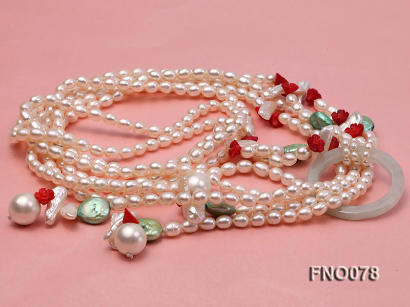 5.5-6.5mm white elliptical pearls alternated with red coral white biwa pearls and green coin pearl big Image 4
