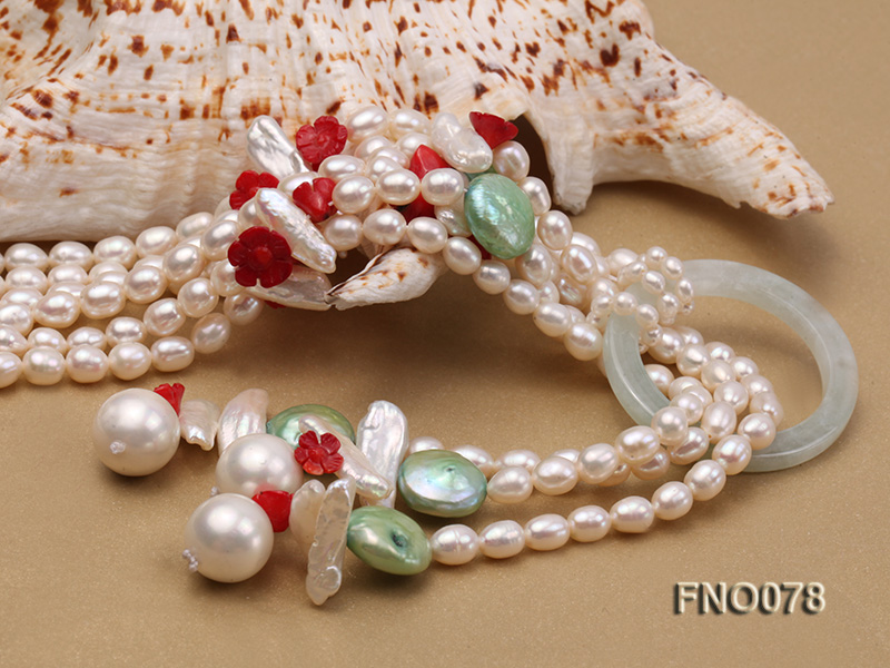 5.5-6.5mm white elliptical pearls alternated with red coral white biwa pearls and green coin pearl big Image 5