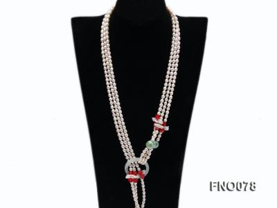 5.5-6.5mm white elliptical pearls alternated with red coral white biwa pearls and green coin pearl FNO078 Image 2