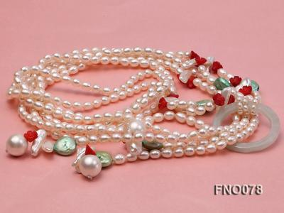 5.5-6.5mm white elliptical pearls alternated with red coral white biwa pearls and green coin pearl FNO078 Image 4
