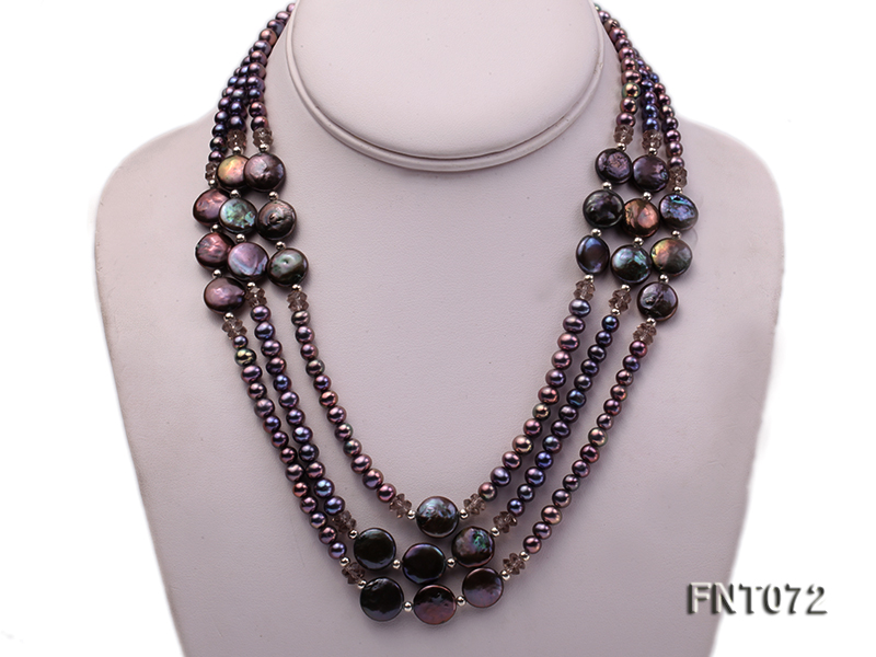 Dark-purple Freshwater Pearl Necklace and Bracelet Set big Image 2