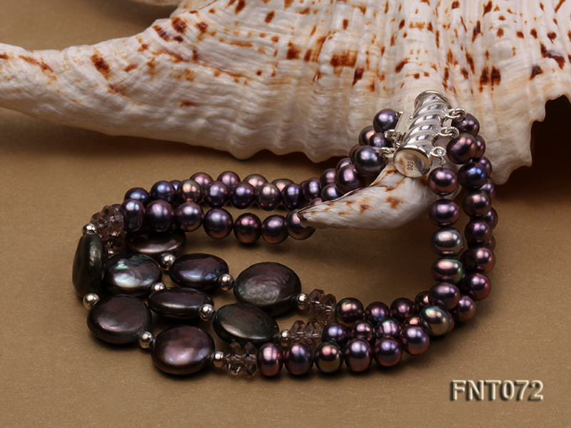 Dark-purple Freshwater Pearl Necklace and Bracelet Set big Image 3