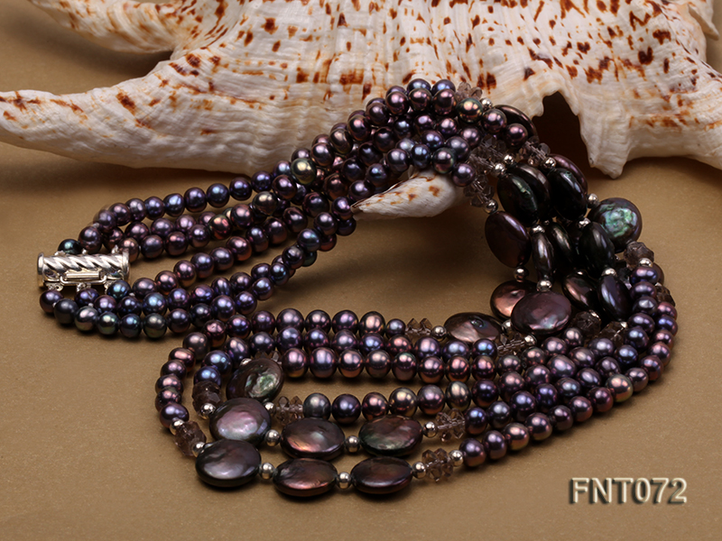 Dark-purple Freshwater Pearl Necklace and Bracelet Set big Image 4