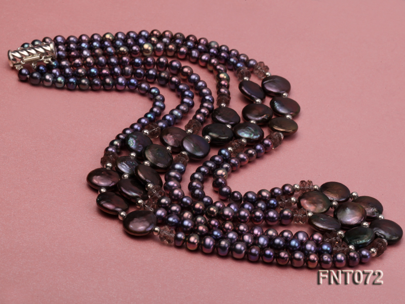 Dark-purple Freshwater Pearl Necklace and Bracelet Set big Image 5