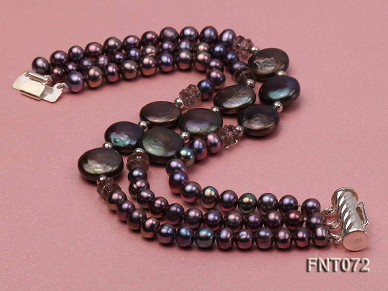 Dark-purple Freshwater Pearl Necklace and Bracelet Set big Image 6