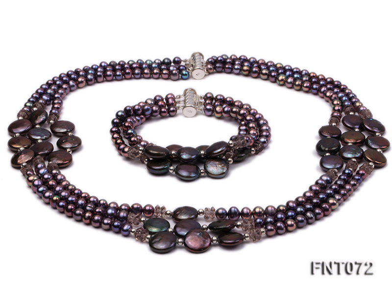 Dark-purple Freshwater Pearl Necklace and Bracelet Set big Image 1