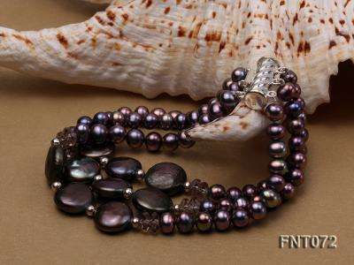 Dark-purple Freshwater Pearl Necklace and Bracelet Set FNT072 Image 3